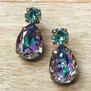 Sorrelli Lilac Explosion Pear Crystal Earring, NWT
